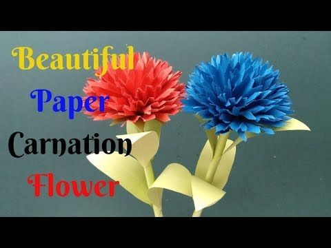 How To Make Beautiful Stick Flower From Paper 3 Diy Crafts Paper Carnation Flower Youtube Paper Crafts Diy Paper Flowers Diy Crafts Paper Flowers