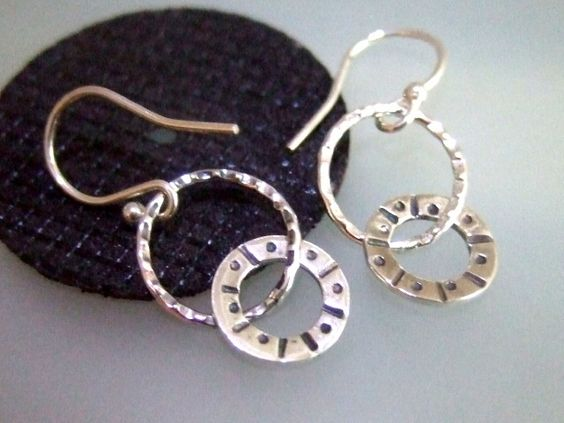 Silver sun design hoop drop earrings £19.00