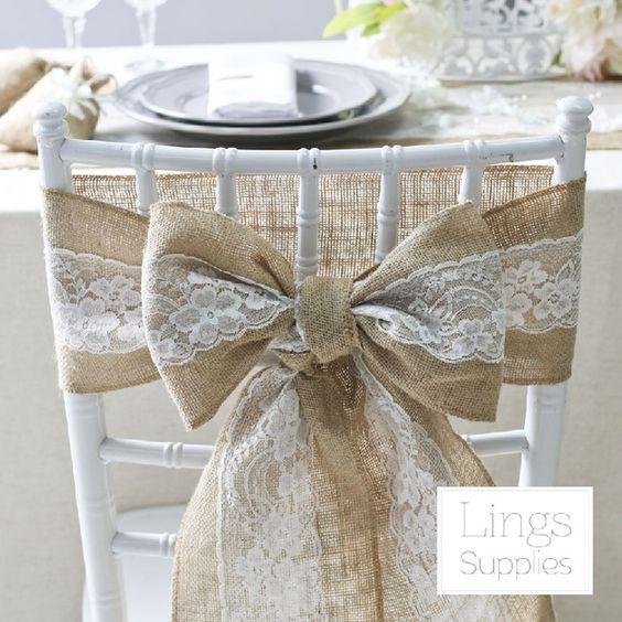 2016 10 pcs hesse chaise jupettes Jute Jute dentelle rustique Vintage Shabby de mariage Favor décor