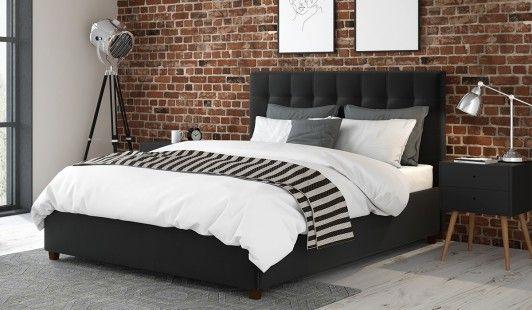 150cm Ottoman Bed Frame Alexis Black Velvet Black Bed Frame Bed Frame Upholstered Bed Frame