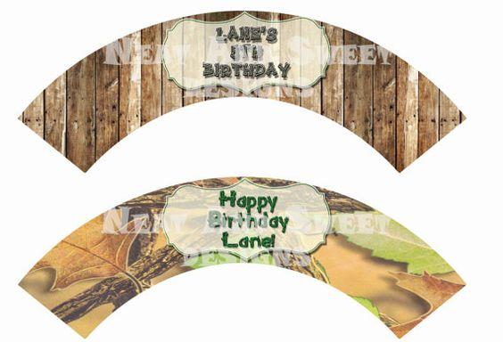 Set of 6 Printable Hunting Themed Cupcake Wrappers - Camo Cupcake Wrappers - Birthday Cupcake Wrappers - Hunting Party Cupcake Wrappers #huntingthemedparty