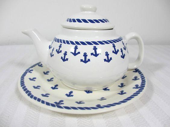 Théière ET Assiette À Pain Petites Ancres Marines Bleues TEA POT | eBay