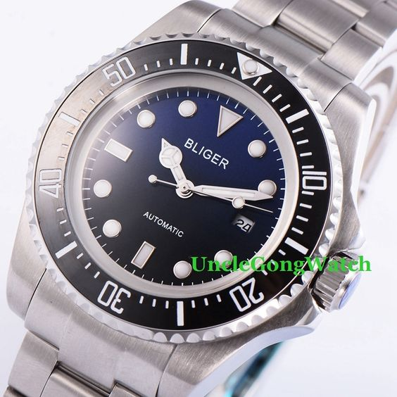 102.60$  Watch here - http://alikee.worldwells.pw/go.php?t=32754032253 - Bliger 44mm Mens Automatic Watch Black Blue Dial Stainless Steel Bracelet Timepiece Ceramic Rotatable Bezel Clock BA4401SBL
