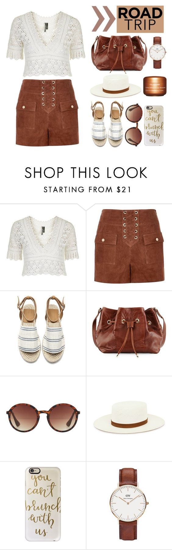 """""""#008: road trip"""" by selenawil ❤ liked on Polyvore featuring Topshop, River Island, Lauren Merkin, MANGO, Janessa Leone, Casetify, Daniel Wellington and Clarins"""