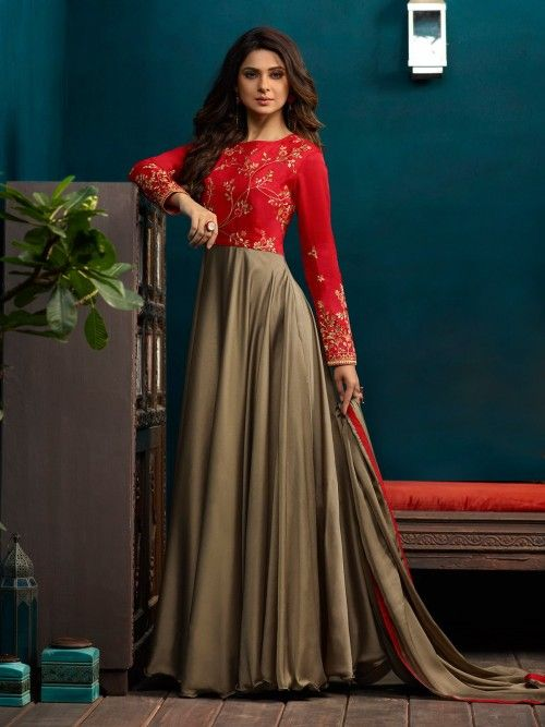 Jennifer Winget Style Chikoo Gown Suit Online Which Is Crafted From Silky Georgette And Silk Fabric With Excl Designer Anarkali Designer Dresses Indian Fashion