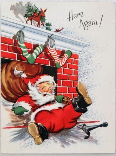 #1777 50s Santa Falls on His Backside! Vintage Christmas Card-Greeting