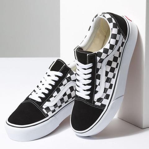 Vans Checkerboard Old Skool Platform Shoes (black-true White ...