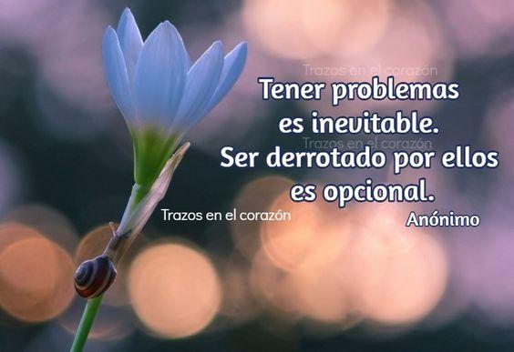 Tener problemas es inevitable. Ser derrotado por ellos es opcional. Anónimo @trazosenelcorazon