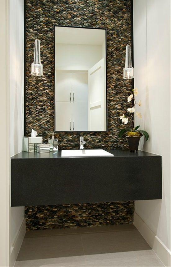 Bathroom River Rocks Wall