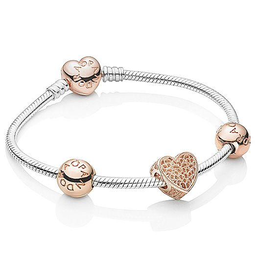 silver pandora bracelet with rose gold charms