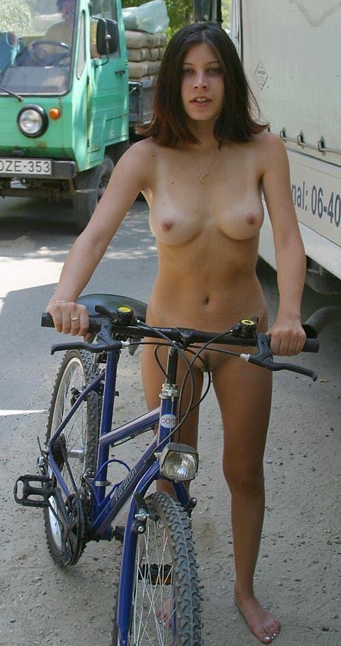 Nude chick on bike