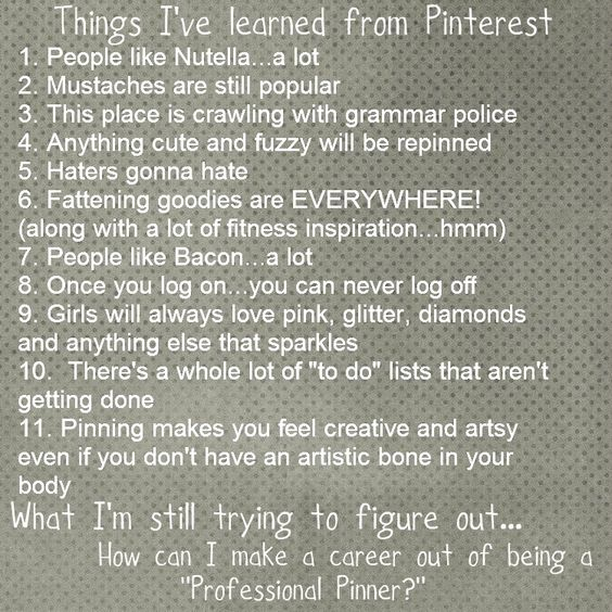 Lessons learned from Pinterest...ha ha ha