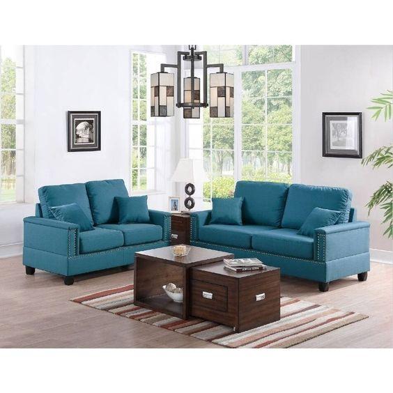 P6901 Sofa Loveseat F6901 Poundex Fabric Sofas Living Room Sets Sofa And Loveseat Set Living Room Furniture Layout