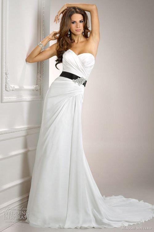 classic white wedding dress with black www.brayola.com - Wedding ...