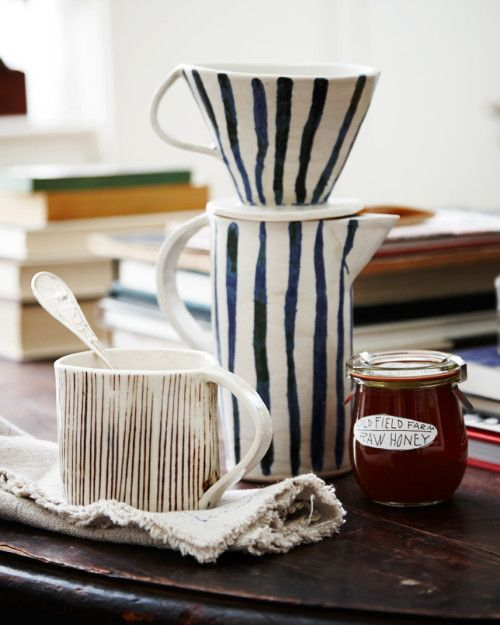 This coffee dripper: Paula Grief pottery from Sweet Paul Mag | via Design*Sponge