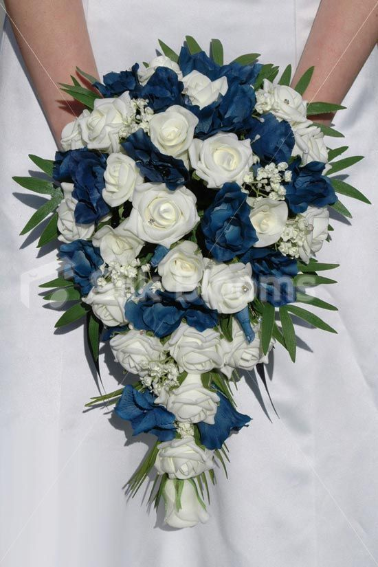Navy Blue And Ivory Rose And Lisianthus Cascading Bridal Bouquet