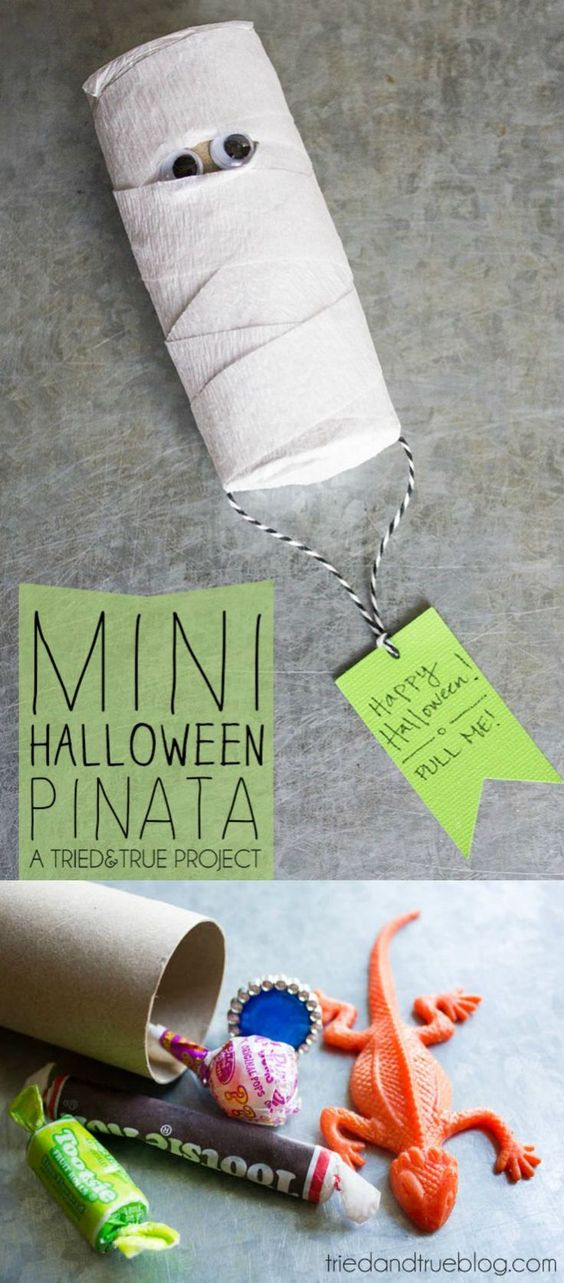 Use a toilet paper roll and some crepe paper to make the cutest DIY Halloween mini pinata ever. You'll love finding out what's inside!: