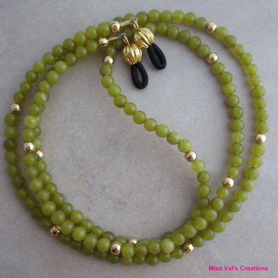 green jade and gold eyeglass chain  #eyeglasschain #jade