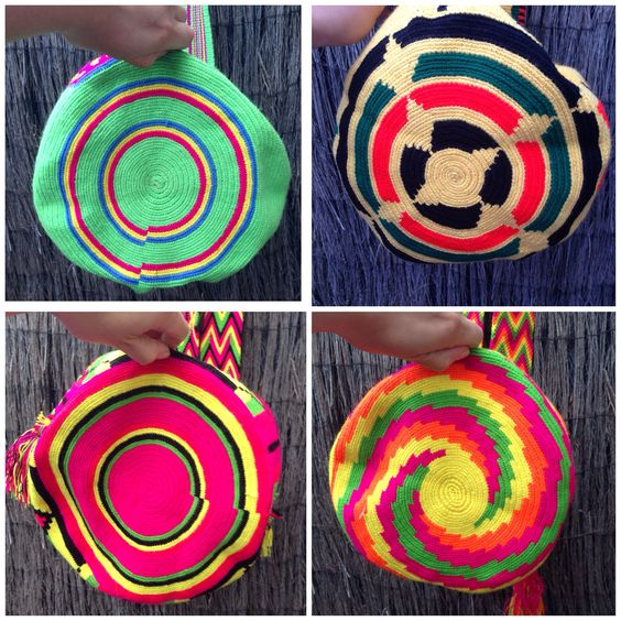 The beautiful bottoms of our Colombian mochila bags, making each bag one of a kind. Www.gringas.co.uk/products