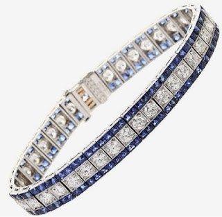 Classic Diamond Sapphire Platinum Bracelet