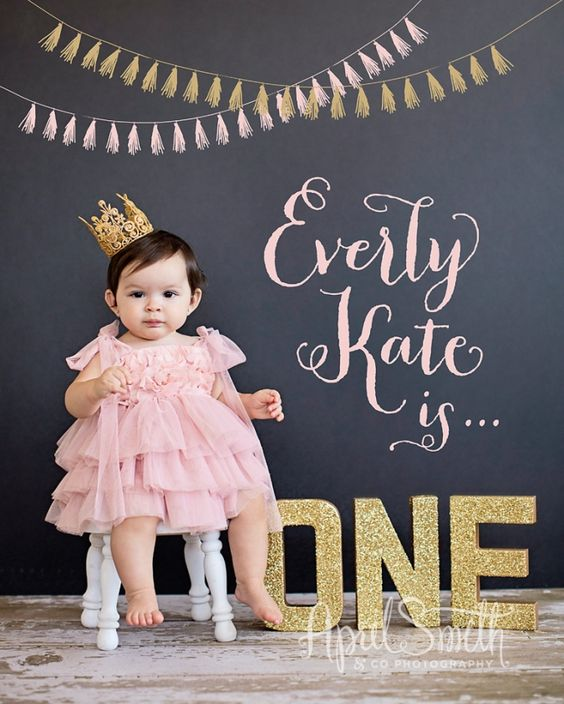 Baby Photographer   One Year Birthday Session   Upland Photography Studio   First Birthday Photo session with gold letters and a crown.