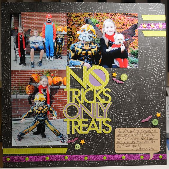 No tricks only treats layout with Chomas Creations engraving tip in the Silhouette Cameo