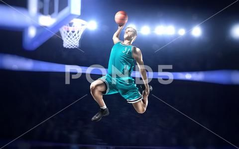 Basketball Player Making Slam Dunk On Basketball Arena Stock Photos Ad Making Slam Basketball Player Basketball Players Slam Dunk Slam Basketball