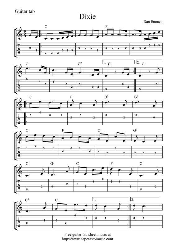 Guitar Music Sheets for Beginners : Free guitar tab sheet music, Dixie : For the home ...
