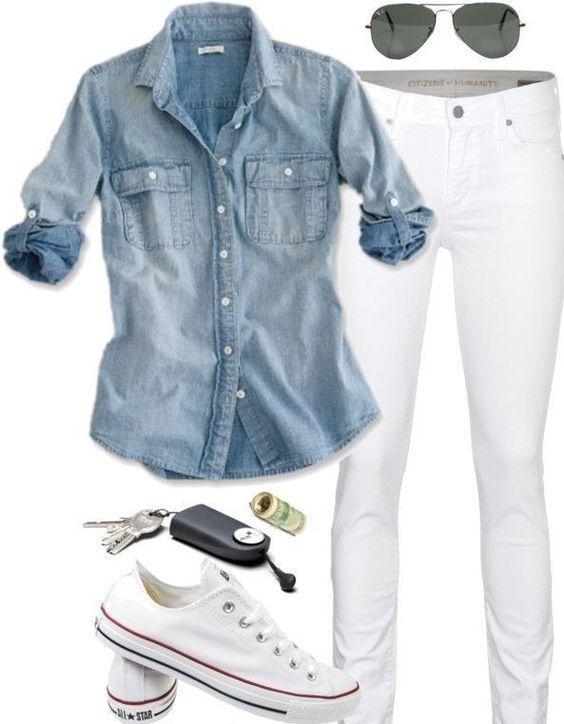 Minimal + Classic: denim shirt, white jeans, converse: