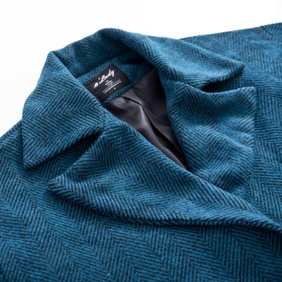 新穎視覺暖和毛呢斜紋大翻領外套 - FINAL SALE!!>>年終。慶_全館5折 | aLady