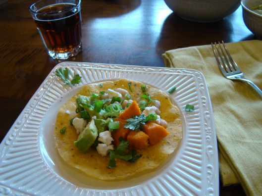Chicken Tomatillo Tostadas With Refried Black Beans And Cabbage-Pepper ...