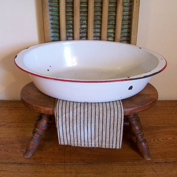 Vintage Kitchen Yelp: Oval Enamelware Tub / Farmhouse Collectible / Red And
