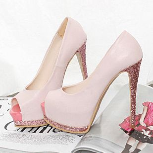 Light pink with Glitter heels | Im a Shoe Whore | Pinterest ...