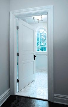 Grey Walls White Trim Black Door Hardware Dark Floors