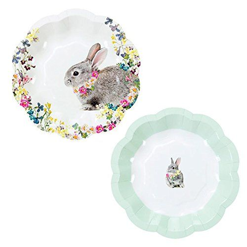 Talking Tables Truly Bunny Floral Rabbit Small Plates In Two Designs For An Easter Celebration Or Childrens Party 24 Pack Bunny Plates Bunny Birthday Bunny Baby Shower