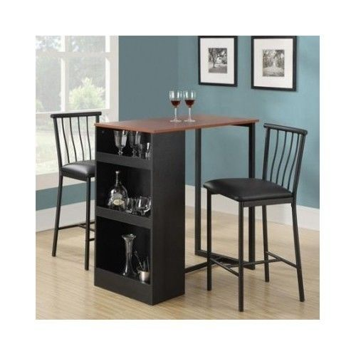Home Bar Furniture Dining Room Set 3 Pieces Kitchen Modern Table Stools Chairs  #Modern