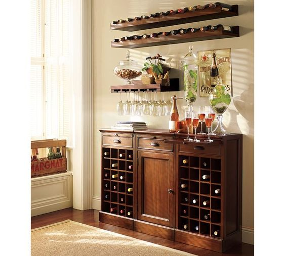 I like the set up, for joe's kitchen,  not so many wine bottle openings, maybe half, with half cabinet with dooor.  the top part, so cool,  could not find those wine bottles for stuff..