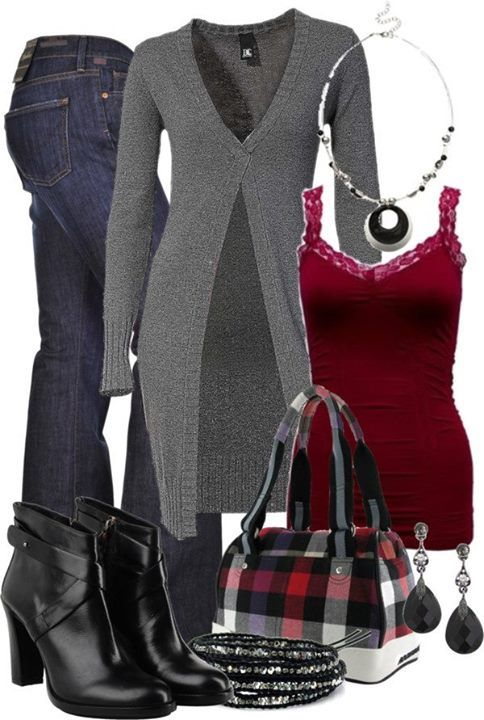ove the layered tank/sweater. Love the long sweater look. Like the colors together, pop of dark red caught my eye.