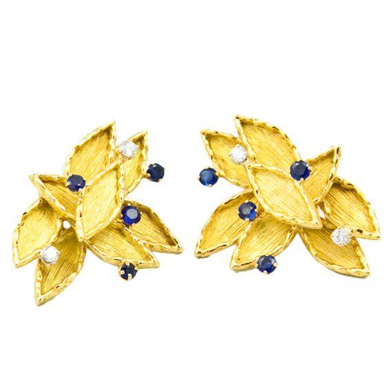 1stdibs | BOUCHERON Diamond and Sapphire Ear Clips.