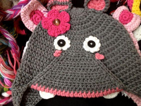 Crochet handmade animal hats pig panda rhino cow owl by SaraMolano