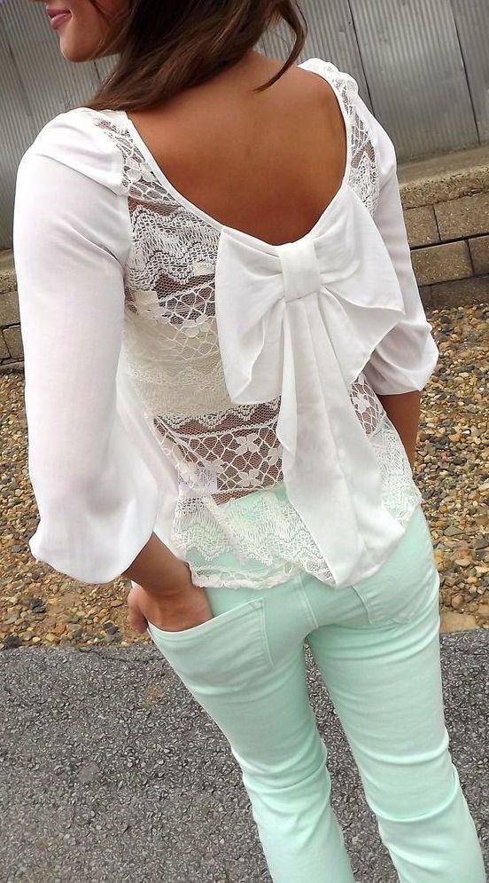 Black Lace Bow Blouse 72
