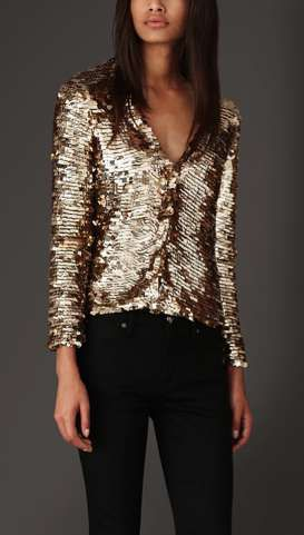 This Geometric Cardigan by Burberry Looks Stunning Paired with Jeans #fashion #sequins trendhunter.com