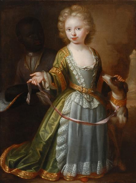Girl with a Dog by Philip Vilain, 1708 the Netherlands, the Bowes Museum