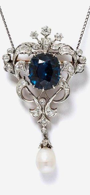 Edwardian blue spinel and diamond pendant/brooch