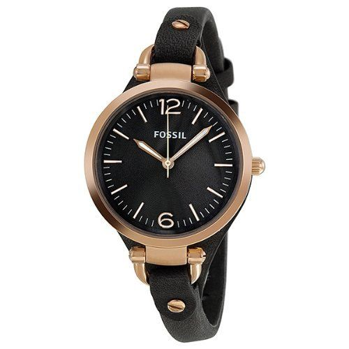Best Buy Fossil Womens ES3077 Georgia Smoke Leather and Rose Gold-Tone Stainless Steel Watch at http://get.nazuka.net/review/product.php?asin=B0066T33EE