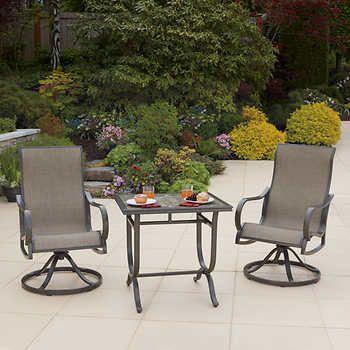 Montgomery 3 Piece Cafe Patio Set Costco 499 99 Patio Chairs Outdoor Furniture Sets Patio Set