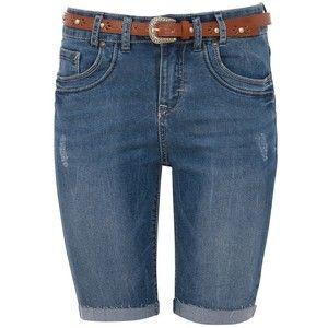 Blue Knee Length Belted Denim Shorts