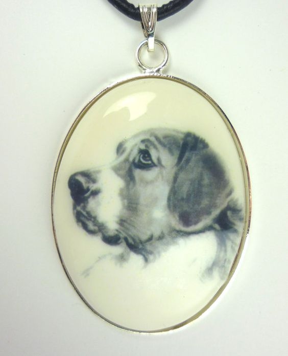 A Saint Bernard Drawing on White Cabochon in Silver by dogonitart, $8.99