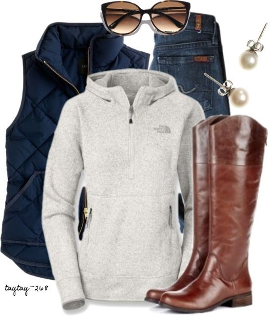 7's, The North Face and a quilted vest? What more could a girl ask for in this outfit! Love it!