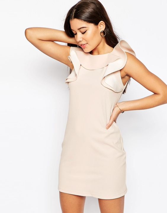 ASOS+Shift+Dress+with+Ruffle+Neckline